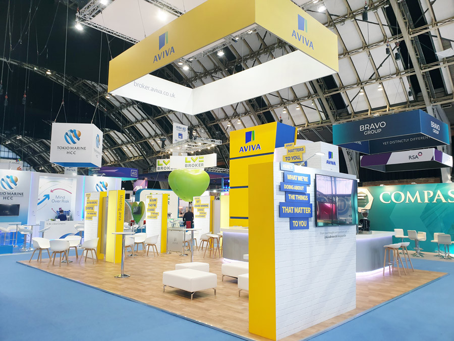 Large Open Plan Exhibition Stand Aviva at BIBA 2019