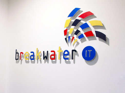 Stand Off Coloured Acrylic Logo for Breakwater IT
