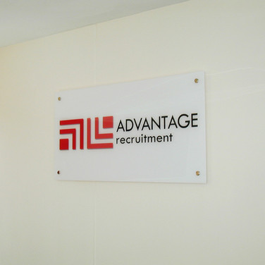 Sub-Surface Acrylic Signage on Stand Off Fixings for Advantage