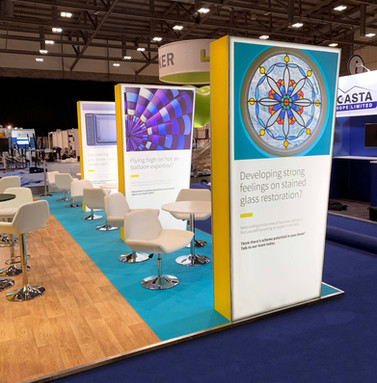 Unique Angled Fabric Lightbox Totems for Aviva at Broker Expo