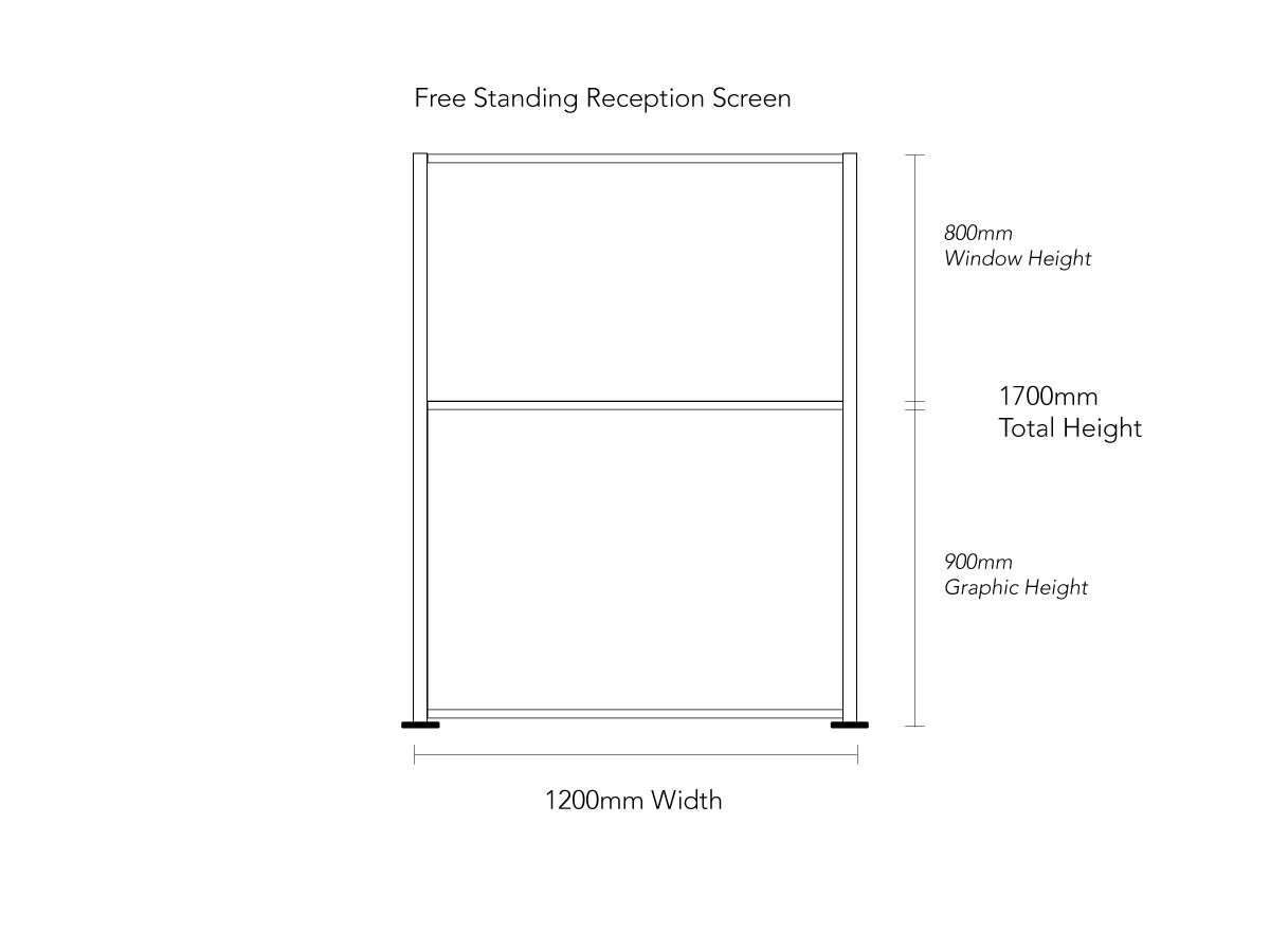 Product Dimensions for Freestanding COVID Reception Screen