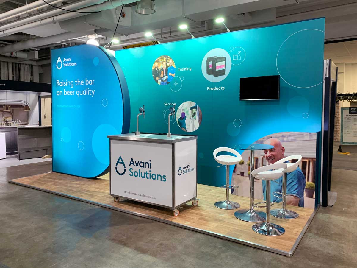 Avani Solutions PUB19 Custom Exhibition Stand with Beer Interaction