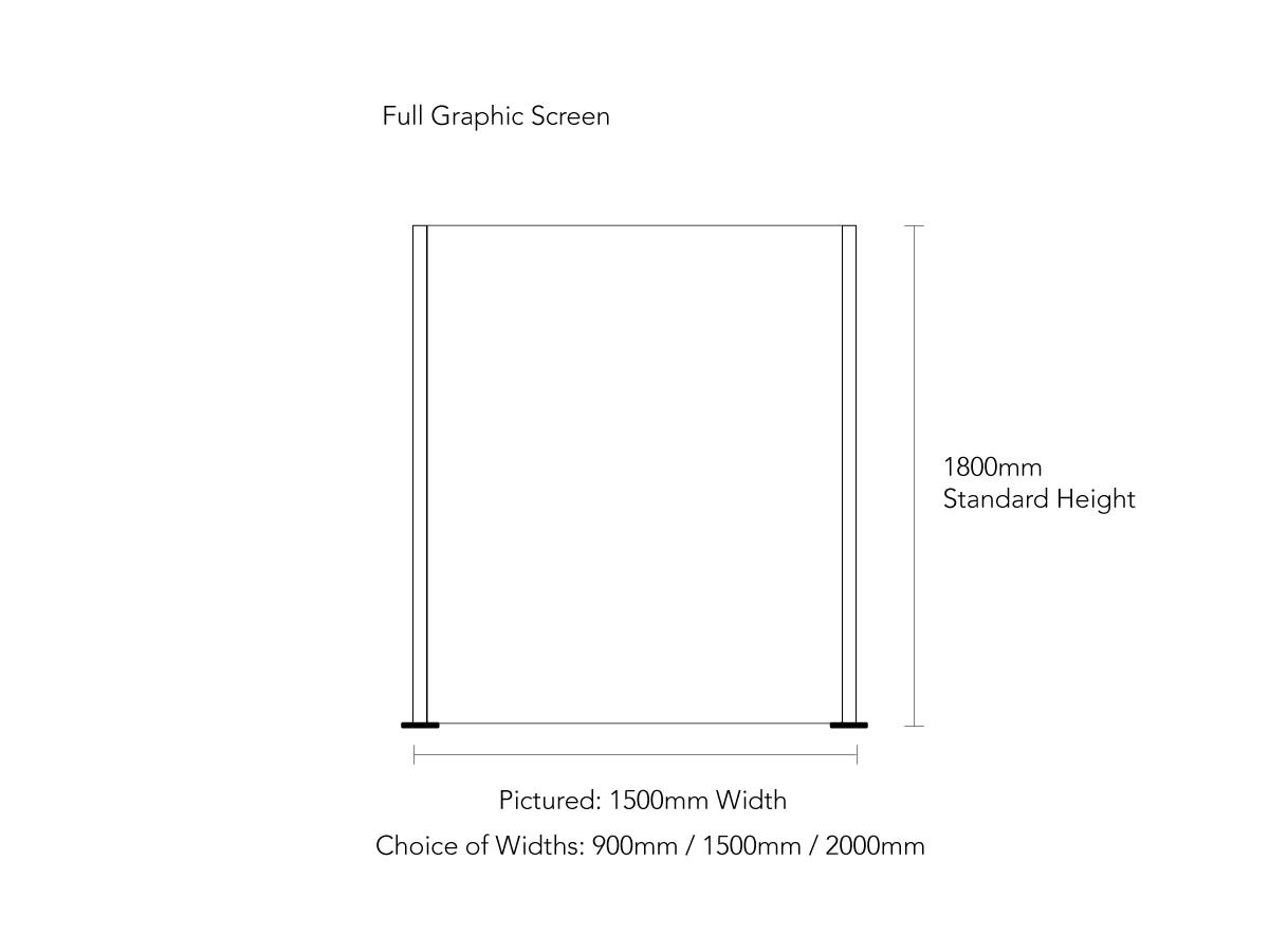 Product Dimensions for Covid Dividing Screen With Full Graphic