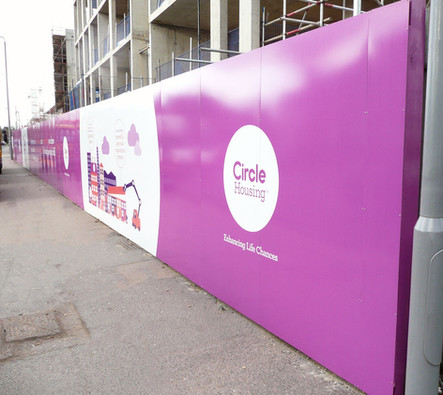 Construction Site Hoarding Panels with Graphics for Circle Housing