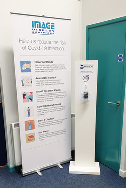 Bannerstand and Sanitiser Station for Covid Management in Workplace