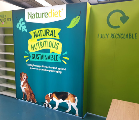 Illuminated Tension Fabric Lightbox for Naturediet Pet Foods in Norfolk