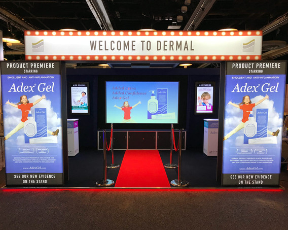 Cinema Themed Exhibition Stand Dermal at BAD 2018