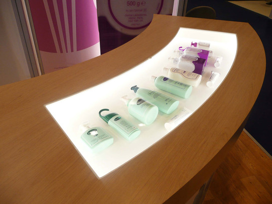 Internally Illuminated Product Display Counter for Dermatological Products