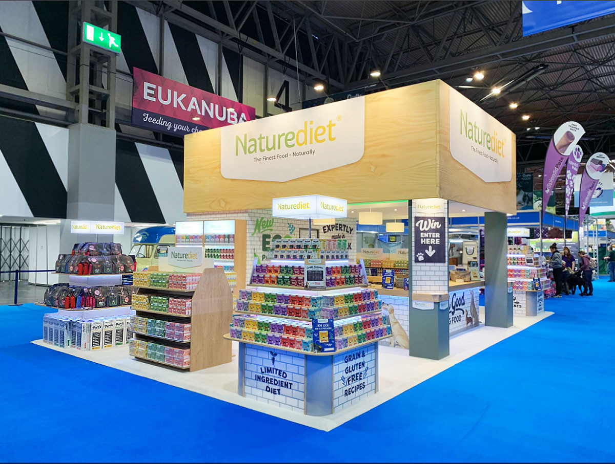 Modern Exhibition Stand Design and Build Naturediet at Crufts 2019