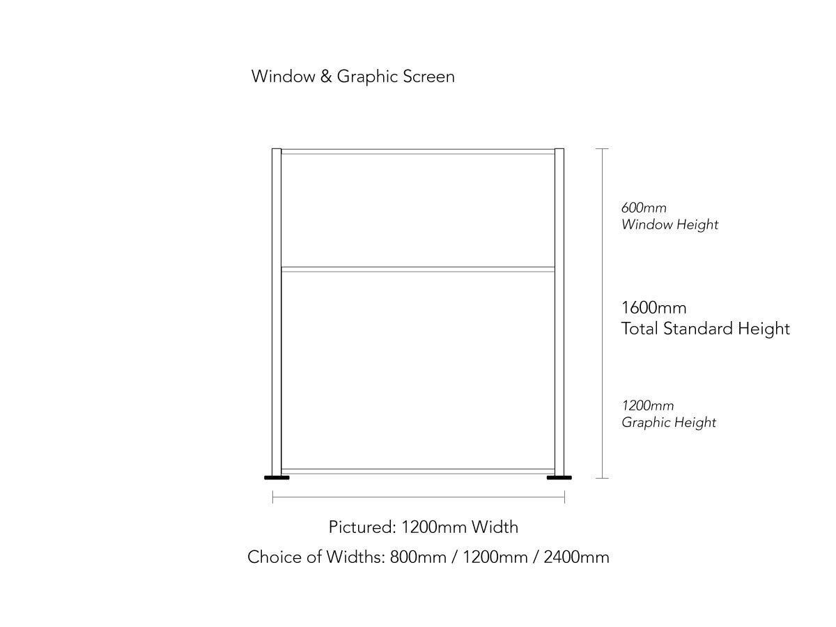 Product Dimensions for Full Height COVID Screen With Graphic Panel and Window