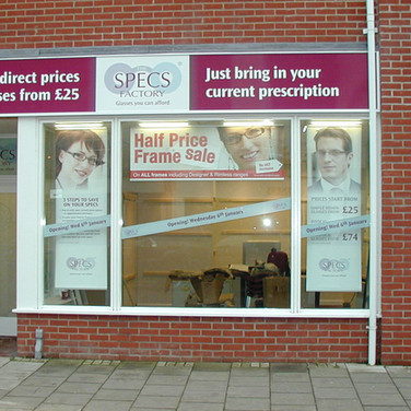 Shopfront Signage and Graphics for Specs Factory's Norwich Store