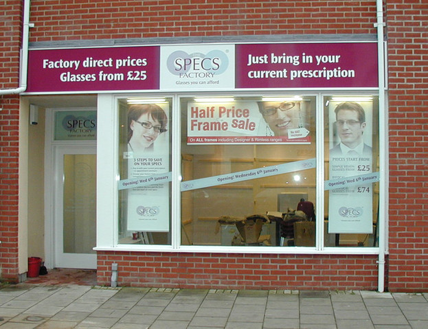 Shop Front and Interior Fit Out for Specs Factory Norfolk