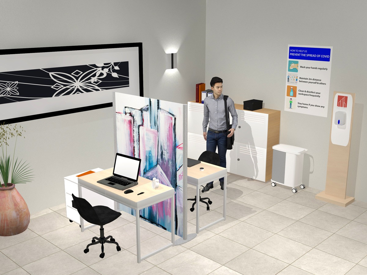 Office Visual with Full Height Covid Screen