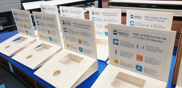 Desk Covid Sanitisation Stations for Pentaco Constructions Norfolk