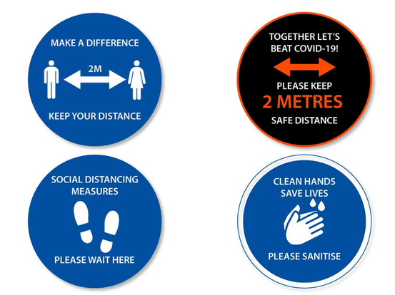 Floor Stickers with Covid Safety Signage for Retails, Hospitality and Offices
