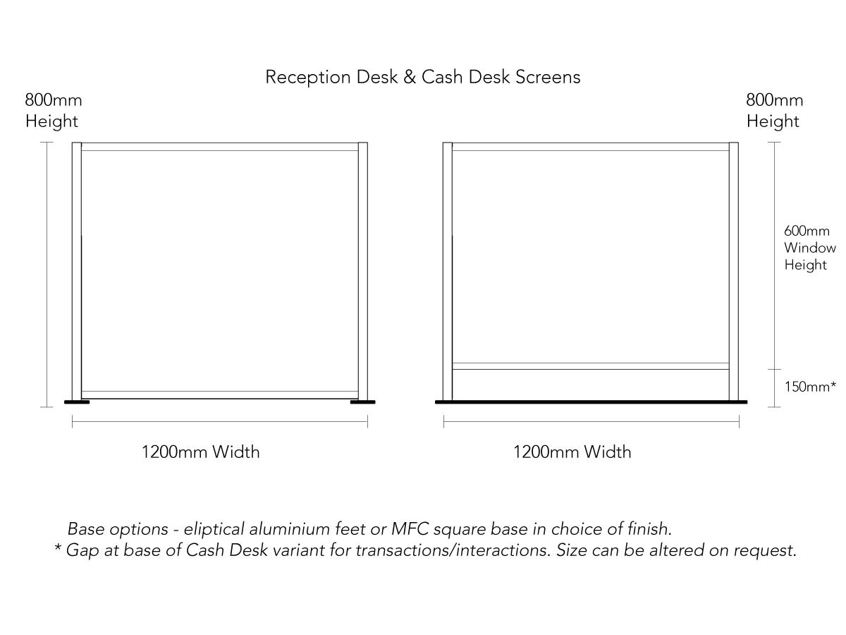 Product Dimensions for COVID Reception Desk and Cash Desk Screens