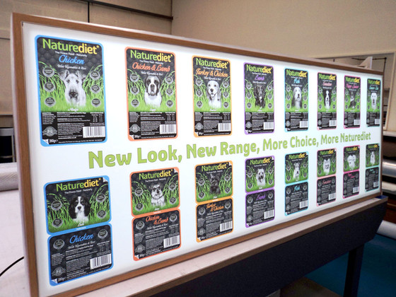 Product Range Fabric Lightbox for Naturediet Pet Foods in Norfolk