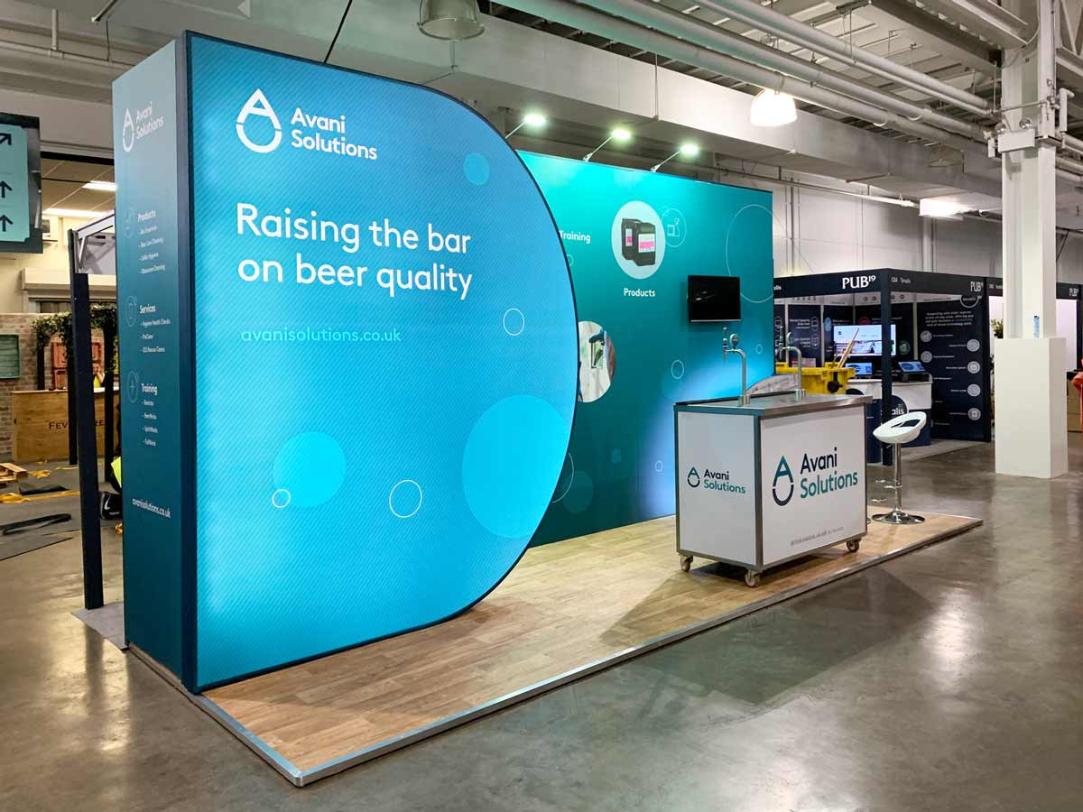 Avani Solution's Custom Exhibition Stand with Curved Lightbox Graphic PUB19