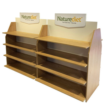Bespoke Retail POS Gondola Displays Sized to Suit Product for Naturediet Pet Foods