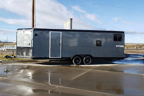 """SOLD! - 2019 Criterion 8.5' x 28' Charcoal 6"""" Extra tall Snowmobile Trailer"""