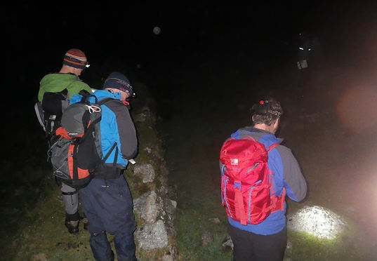 Setting compassess to keep direction on a night navigation workshop