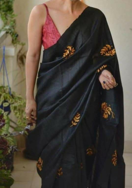 Tussar Silk Saree - Black