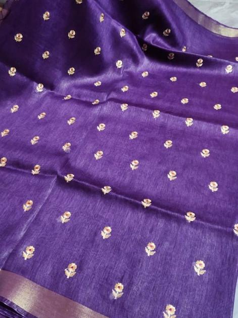 EL812 Tussar Silk Linen Saree - Violet.j