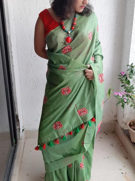 Tussar Silk Saree - Light Green
