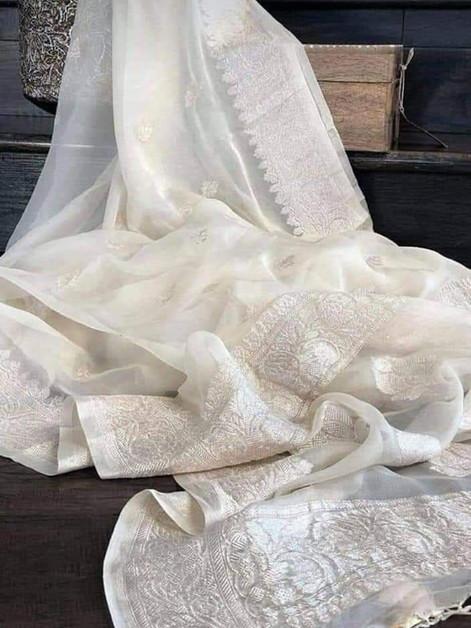 Banarasi Khadi Chiffon White Saree