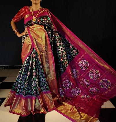 SSPS01 Double Ikkat Handwoven Silk Saree