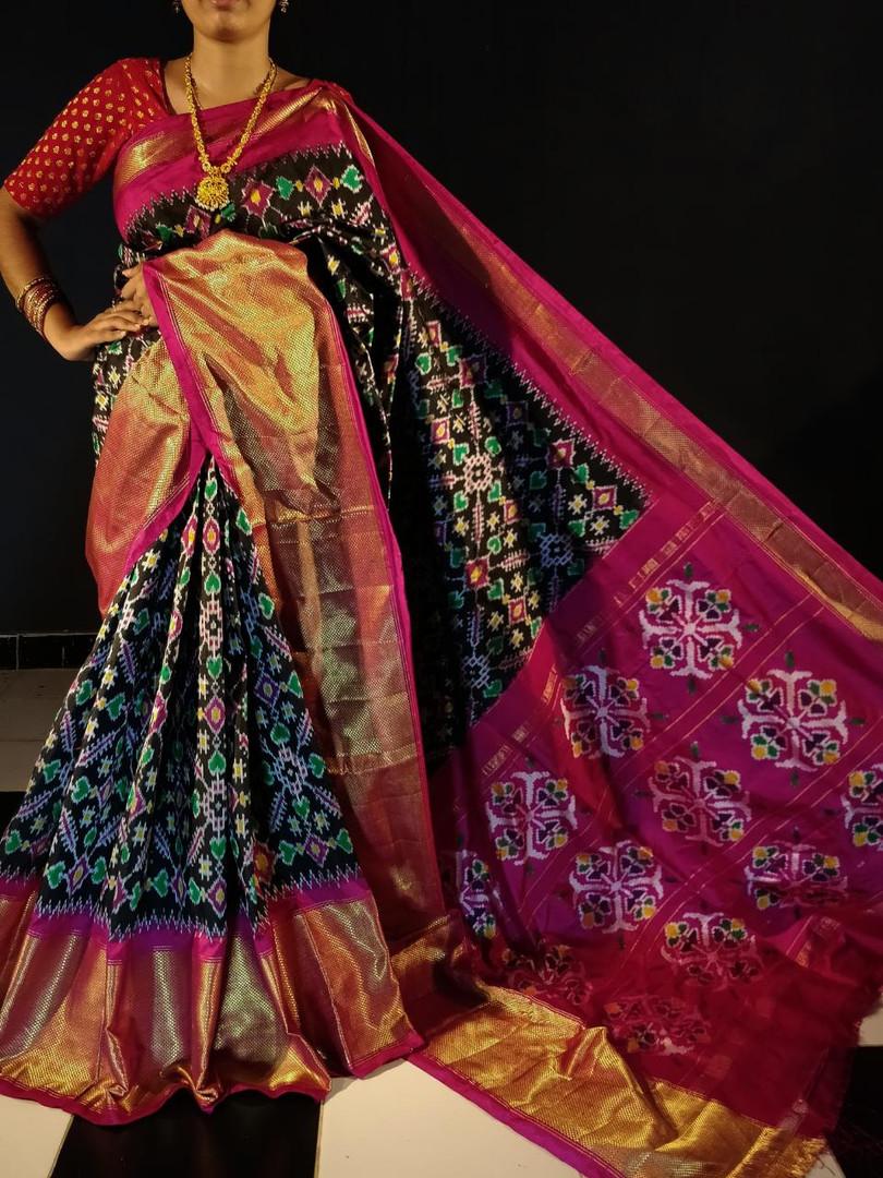 Double Ikkat Handwoven Silk Saree