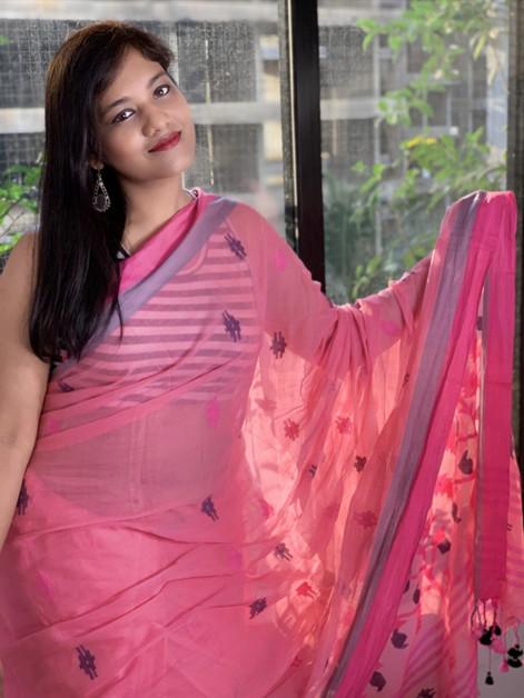 Pink Cotton Jamdani Saree