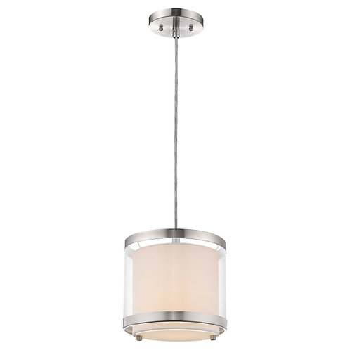 Lux 1-Light Brushed Nickel Mini Pendant With Metal Trimmed Sheer Snow Shantung T