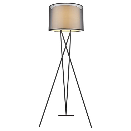 Trition 1-Light Matte Black Tripod Floor Lamp With Smoke Gray Shantung Double Sh