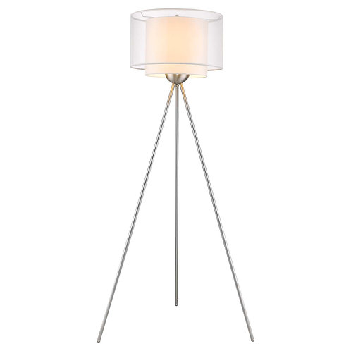 Brella 1-Light Brushed Nickel Tripod Floor Lamp With Sheer Snow Shantung Two Tie