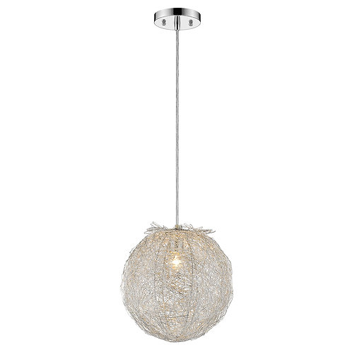 "Distratto 1-Light Polished Chrome Pendant Enmeshed Aluminum Wire Shade (8"")"