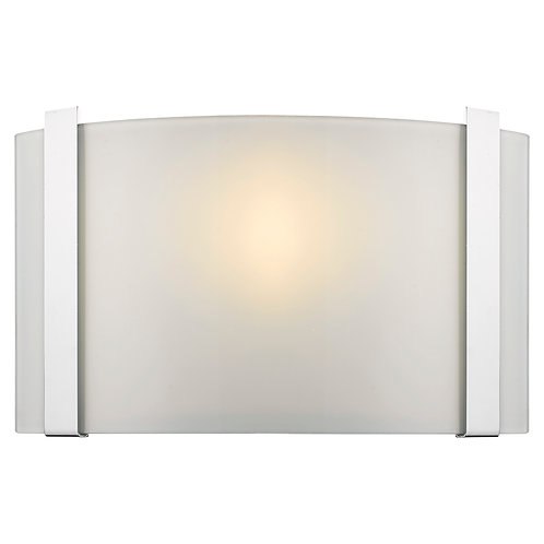 Apollo 1-Light Polished Chrome ADA Wall Sconce With Curved Frosted Glass Shade