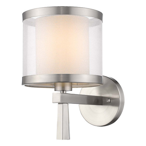 Lux 1-Light Brushed Nickel Wall Lamp With Metal Trimmed Sheer Snow Shantung Two