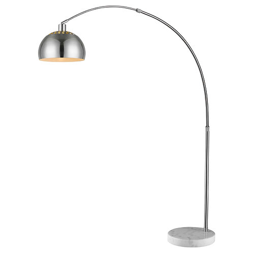 "Mid 1-Light Brushed Nickel Adjustable Arc Floor Lamp With Metal Shade (94"")"