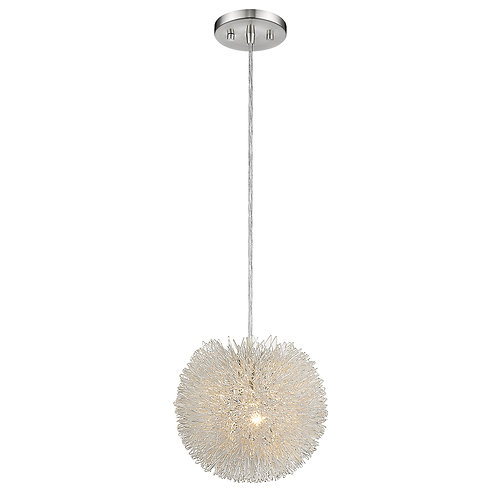 Celestial 1-Light Metallic Silver Flushmount With Hand Woven Aluminum Wire Shade