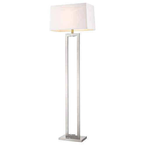 Riley 1-Light Brushed Nickel Floor Lamp With Off-White Shantung Shade