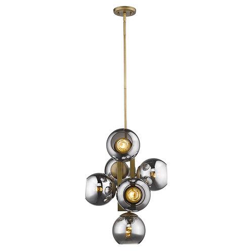 Lunette 6-Light Aged Brass Pendant