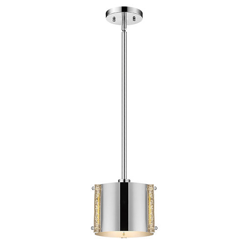 Zoom 1-Light Polished Stainless Steel Pendant With Seeded Acrylic Accents