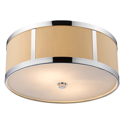 Butler 2-Light Polished Chrome Convertible Flushmount With Coarse Cream Linen Sh
