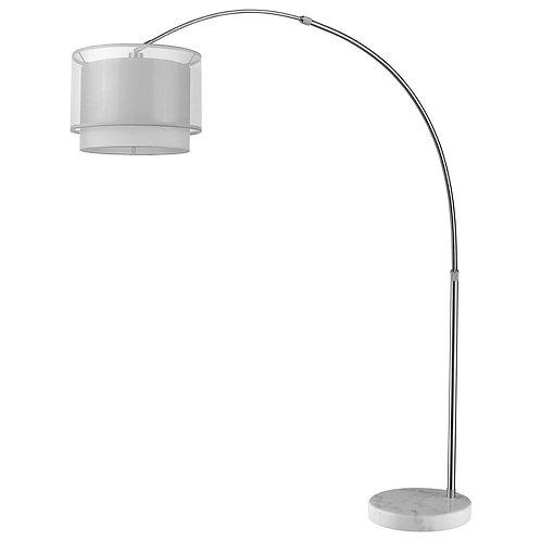 Brella 1-Light Brushed Nickel Adjustable Arc Floor Lamp With Sheer Snow Shantung