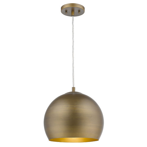 Latitude 1-Light Hand Painted Antique Gold Pendant With Gold Interior Shade