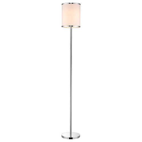 Lux II 1-Light Polished Chrome Floor Lamp With Metal Trimmed Off-White Shantung