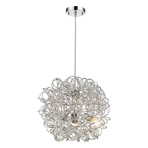 Mingle 3-Light Polished Chrome Pendant With Faceted Chrome Aluminum Wire Shade