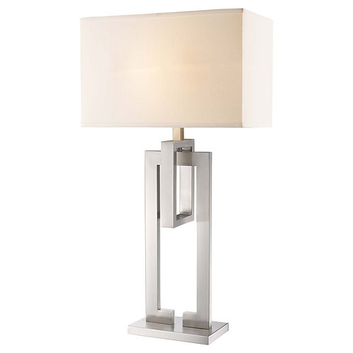 Precision 1-Light Brushed Nickel Table Lamp With Ivory Shantung Shade