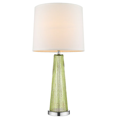 Chiara 1-Light Apple Green Glass And Polished Chrome Table Lamp With Off-White S